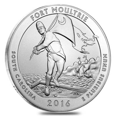 2016-P 5 oz Silver America the Beautiful ATB South Carolina Fort Moultrie National Monument Unc Coin (w/Box & COA)