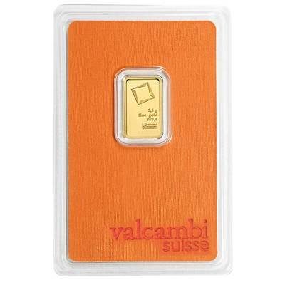 2.5 gram Gold Bar Valcambi Suisse .9999 Fine (In Assay)