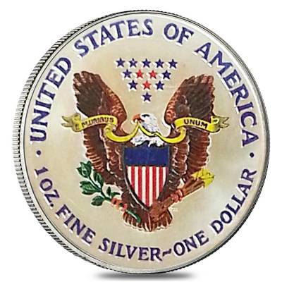 1 oz Silver American Eagle $1 Colorized Coin (Random Year)