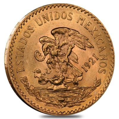 1921 Mexico 20 Pesos Gold Coin AU/BU