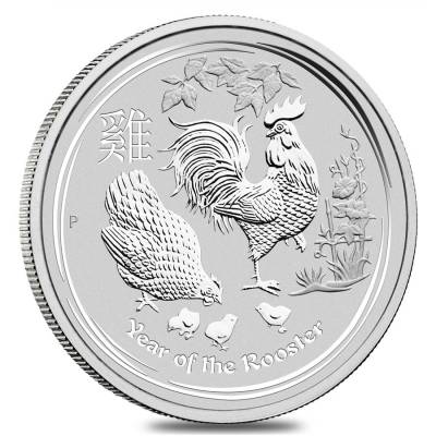 2017 2 oz Silver Lunar Year of The Rooster BU Australian Perth Mint In Capsule