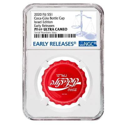 2020 6 gram Fiji Coca-Cola Israel Bottle Cap $1 Proof Silver Coin NGC PF 69 Early Releases