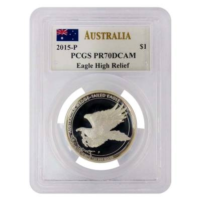2015 1 oz Silver Australian Wedge-Tailed Eagle Perth Mint PCGS PF 70 DCAM (John M. Mercanti Sign Label)