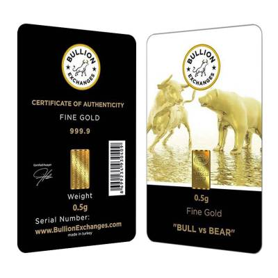 "1/2 Gram Bullion Exchanges ""BULL vs BEAR"" Istanbul Gold Refinery (IGR) .9999 Gold Bar (In Assay)"