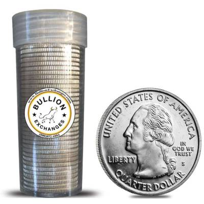 $10 Face Value Washington Quarters 90% Silver 40-Coin Roll (Impaired Proof)