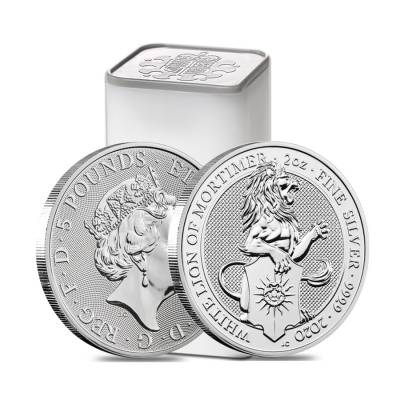 2020 Great Britain 2 oz Silver Queen's Beasts White Lion of Mortimer Coin .9999 Fine BU
