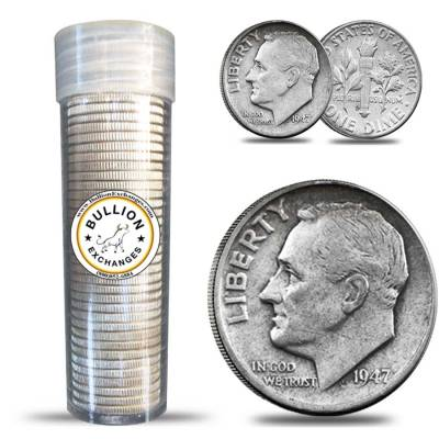 $5 Face Value Roosevelt Dimes 90% Silver 50-Coin Roll