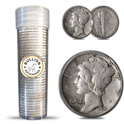 $5 Face Value Mercury Dimes 90% Silver 50-Coin Roll (Circulated)