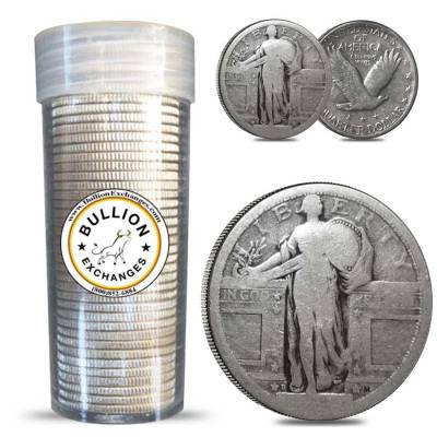 $10 Face Value Standing Liberty Quarters No Dates 90% Silver 40-Coin Roll (Circulated)