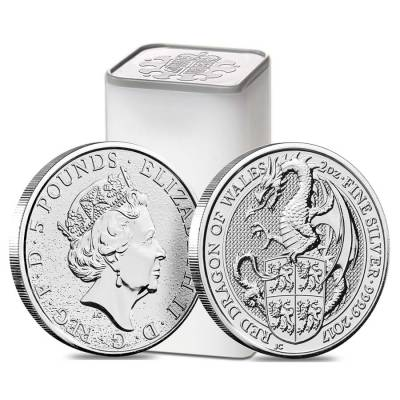 2017 Great Britain 2 oz Silver Queen's Beast (Red Dragon) Coin .9999 Fine BU