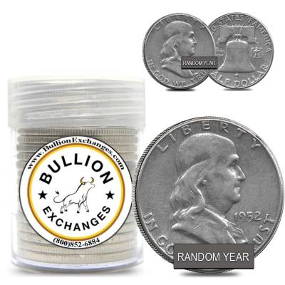 $10 Face Value Franklin Half Dollars 90% Silver 20-Coin Roll (Circulated)
