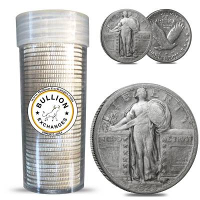 $10 Face Value Standing Liberty Quarters 90% Silver 40-Coin Roll (Circulated w/Dates)