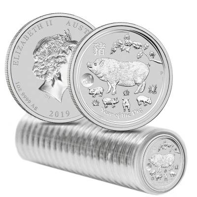 2019 1 oz Silver Lunar Year of The Pig Lion Privy BU Australian Perth Mint In Cap