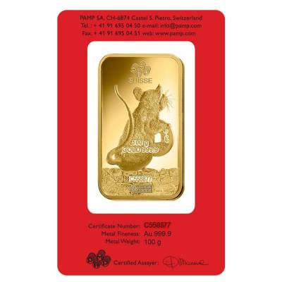100 gram PAMP Suisse Year of the Mouse / Rat Gold Bar (In Assay)