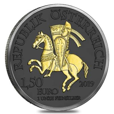 2019 1 oz Austrian Silver Robin Hood Coin .999 Fine Black Ruthenium 24K Gold Edition (w/Box & COA) - 825th Anniversary of the Austrian Mint