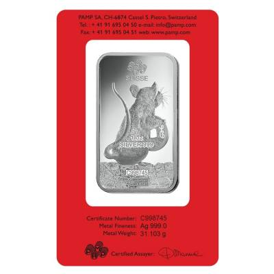 1 oz PAMP Suisse Year of the Mouse / Rat Silver Bar (In Assay)