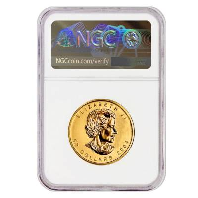 2004 1 oz Canadian Gold Maple Leaf 25th Anniv $50 Coin NGC MS 70