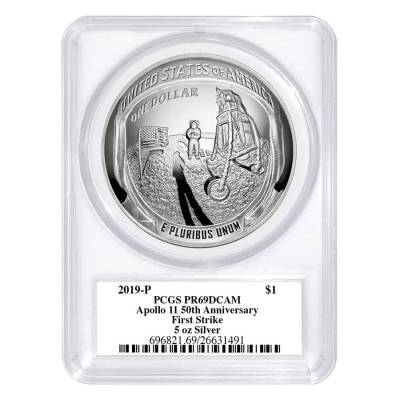 2019 P 5 oz Apollo 11 50th Anniversary Proof Silver Dollar Comm. PCGS PF 69 FS (Moon Label)
