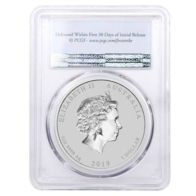 2019 1 oz Silver Lunar Year of The Pig Lion Privy PCGS MS 69 First Strike