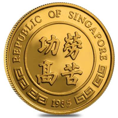 1985 1/10 oz Singapore 10 Singold Year of the Ox Gold Proof-Like Coin (Sealed)