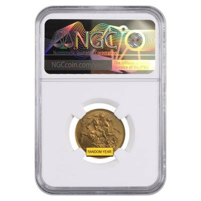 Gold Sovereign Coin NGC/PCGS MS 62 (Random Year)