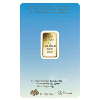 5 gram PAMP Suisse Gold Bar - Am Yisrael Chai (in Assay) .9999 Fine
