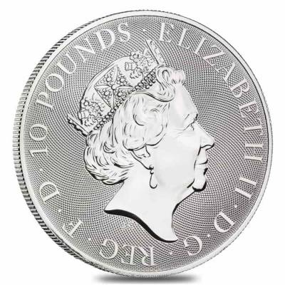 2021 Great Britain 10 oz Silver Queen's Beasts White Horse of Hanover Coin .9999 Fine BU In Cap