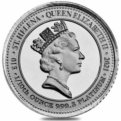 2021 St. Helena 1/10 oz Platinum The Queen's Virtues - Victory Coin .9995 Fine BU