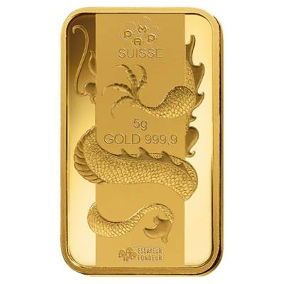 Box of 25 - 5 gram PAMP Suisse Year of the Dragon Gold Bar (In Assay)