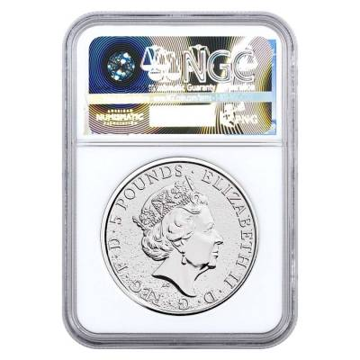 2017 Great Britain 2 oz Silver Queen's Beast (Red Dragon) Coin NGC MS 69 First Day of Issue