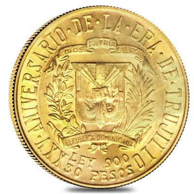 1955 Dominican Republic Gold 30 Pesos Trujillo AGW .8571 oz AU/BU