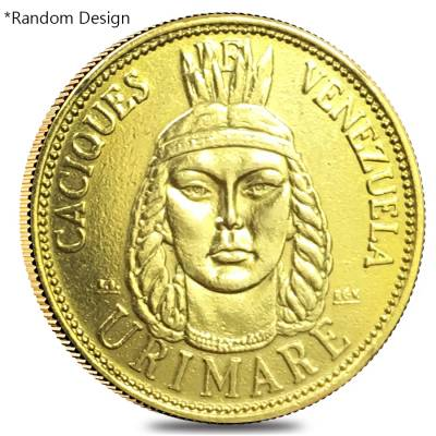 Venezuela 9 Gramos Indian Chiefs Gold Coin AGW .2604 oz Scruffy (Random Design)