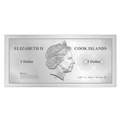 2017 5 Gram Cook Islands Skyline Foil Note $1 - Singapore Silver Note .999 Fine