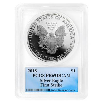 2018-W 1 oz Proof Silver American Eagle PCGS PF 69 DCAM First Strike (Fun Show Label)