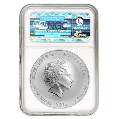 2012 1 oz Australian Silver Lunar Year of the Dragon Colorized Coin NGC MS 70
