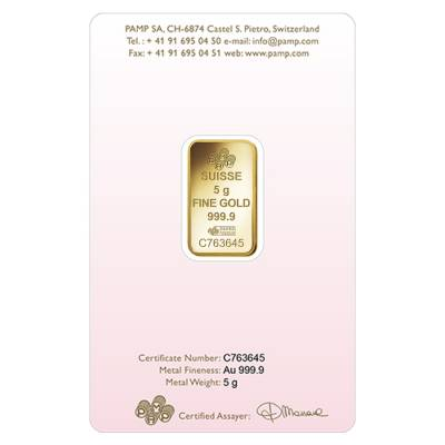 Lot of 5 - 5 gram PAMP Suisse Gold Bar - Love Always (In Assay) .9999 Fine