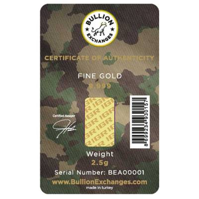 2.5 Gram Gold Bullion Exchanges Army Camouflage Istanbul Gold Refinery (IGR) .9999 Bar (In Assay)
