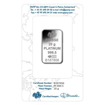 20 gram PAMP Suisse Lady Fortuna Platinum Bar .9995 Fine (In Assay)