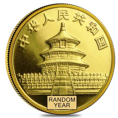 Random Year, Not Sealed Chinese 1//20 oz Gold Panda Proof//Unc