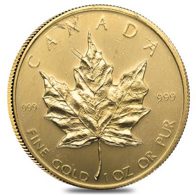 1 oz Canadian Gold Maple Leaf Coin (Random Year, Abrasions)