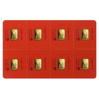 1 gram Gold Bar - PAMP Suisse Lunar Rooster .9999 Fine (In Assay from Multigram+8)