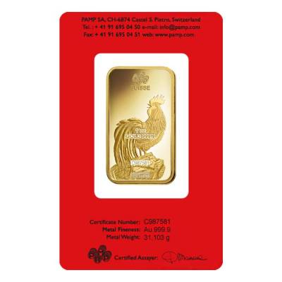 1 oz PAMP Suisse Year of the Rooster Gold Bar (In Assay)