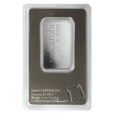 1 oz Platinum Bar - Valcambi Suisse .999+ Fine (In Assay)