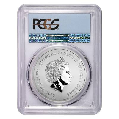 2017 1 oz Tuvalu Spiderman Marvel Series Silver Coin PCGS MS 69 First Strike (Flag Label)