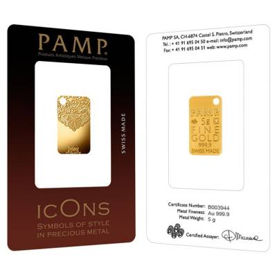5 gram Gold Bar PAMP Suisse Chantilly Lace .9999 Fine (In Assay)