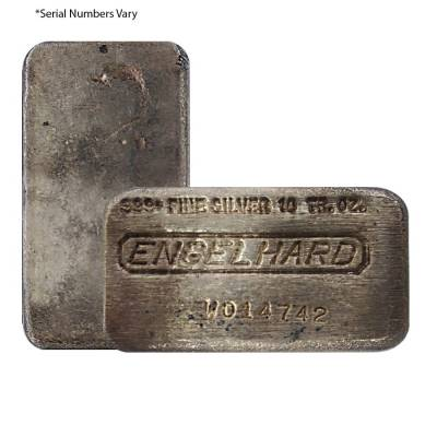 "10 oz Engelhard Cast Silver Bar .999+ Fine (9th Series, ""W"" Serial Prefix)"