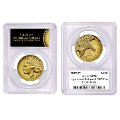 2019 W 1 oz $100 American Liberty High Relief Enhanced Uncirculated Gold Coin PCGS SP 70 FS (Liberty Label)