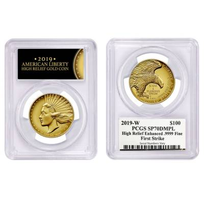 2019 W 1 oz $100 American Liberty High Relief Enhanced Uncirculated Gold Coin PCGS SP 70 DMPL FS (Liberty Label)