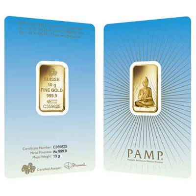 10 gram PAMP Suisse Gold Bar - Buddha (in Assay) .9999 Fine