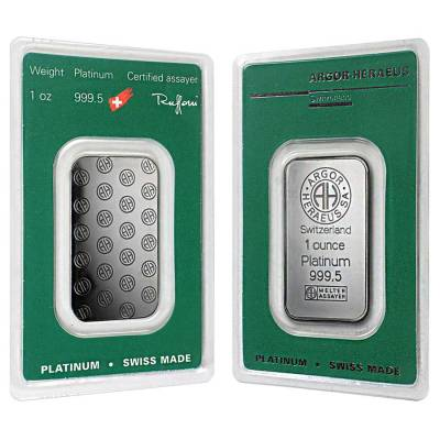 1 oz Platinum Bar - Argor-Heraeus .999+ Fine (In Assay)